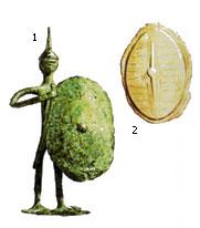 Бронзовая статуэтка и изображение скутума