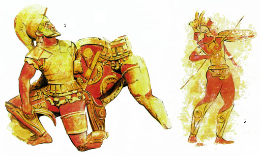 Скульптурное изображение этрусских воинов в полном греческом доспехе