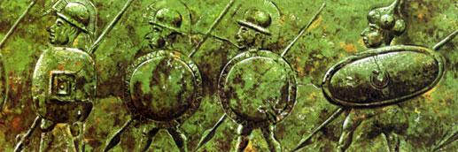 Изображение воинов с Кертосской ситулы, около 500 г. до н.э.